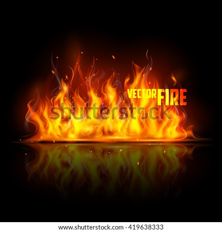 illustration of Realistic Burning Fire Flame on black background - stock vector