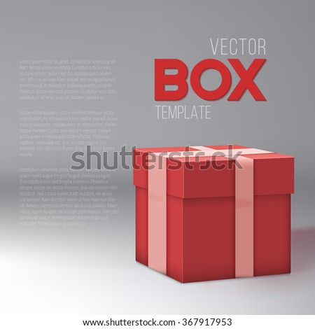 Illustration of Realistic 3D Vector Present Gift Box. Birthday Vector EPS10 Gift Package Box - stock vector