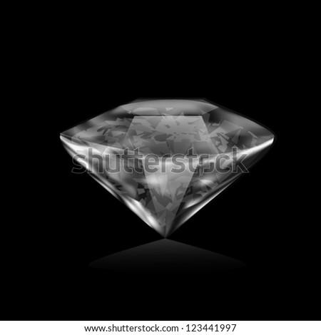 Illustration of realistic diamond on black background - stock vector