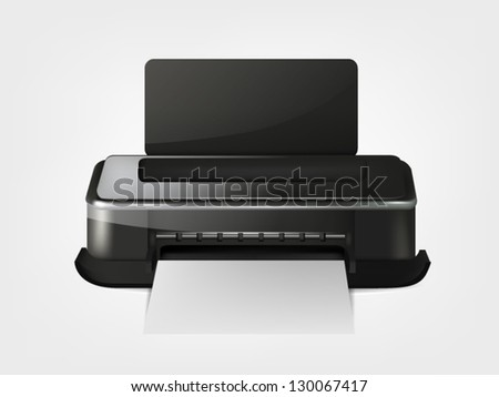 Illustration of realistic printer with white paper on gray background - stock vector