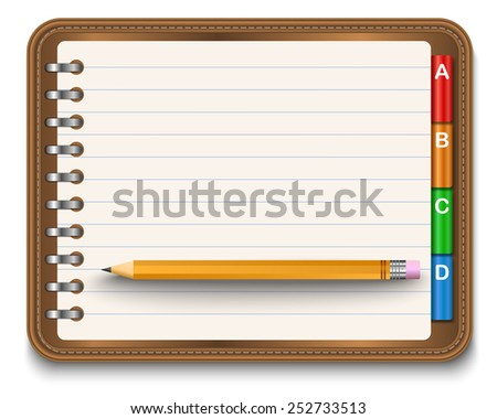 Illustration of realistic spiral notebook and detailed pencils  - stock vector