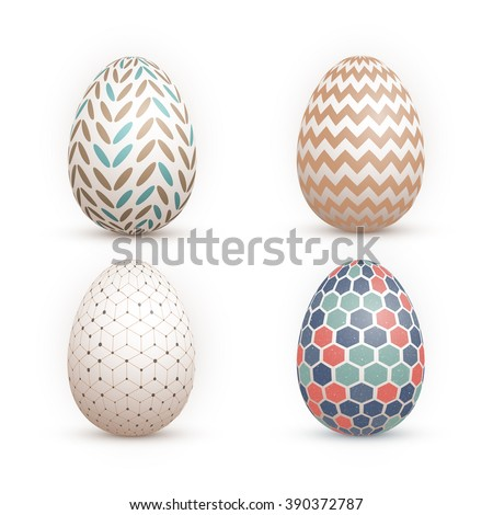 Illustration of Realistic Vector 3D Easter Egg Set. Happy Easter Painted Vector EPS10 Egg Set Isolated on White Background - stock vector