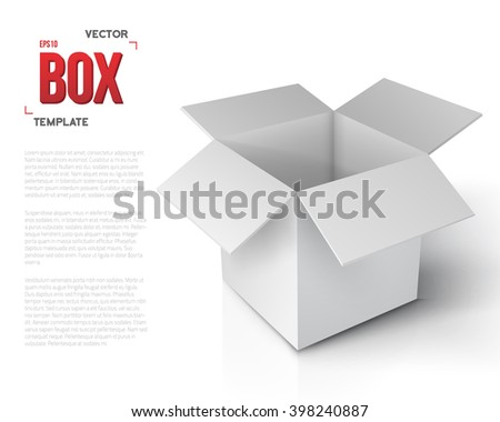 Illustration of Realistic Vector Open Package Box. Vector Paper Open Box Isolated on White Background - stock vector