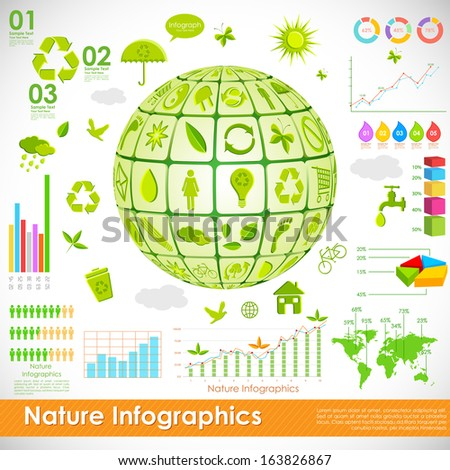 illustration of recycle globe in environmental infographic - stock vector