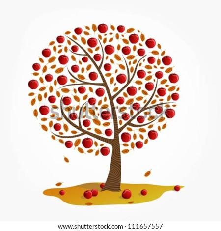 Illustration of red apple tree - stock vector