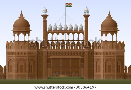 Illustration of Red fort in New Delhi, EPS 10 contains transparency - stock vector