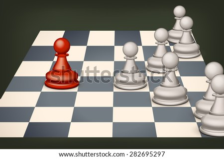 illustration of red pawn versus white group of pawns - stock vector