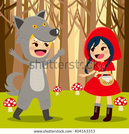 Illustration of Red Riding Hood at Forest meeting wolf - stock vector