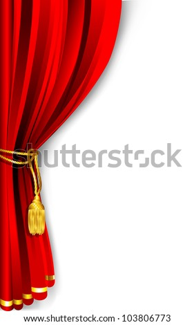 illustration of red stage curtain drape tied with rope - stock vector