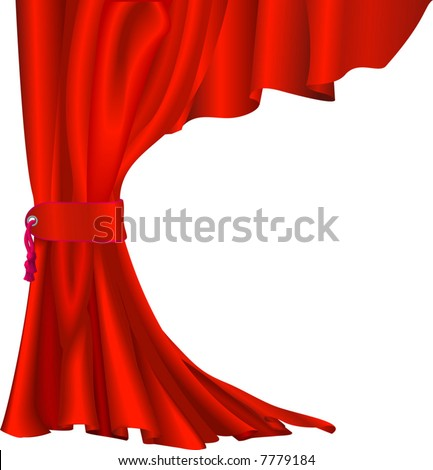 Illustration of  red velvet curtain with tassel like those in theatres or cinemas - stock vector
