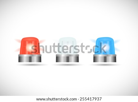 Illustration of red,white and blue first responder lights isolated on a white background. - stock vector