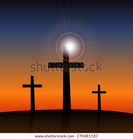 Illustration of 3 religious crosses against a colorful sky background. - stock vector