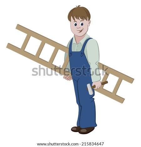 Illustration of repairman or worker standing with a ladder and a hammer - stock vector