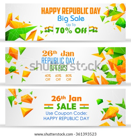 illustration of Republic Day sale banner with Indian flag tricolor - stock vector