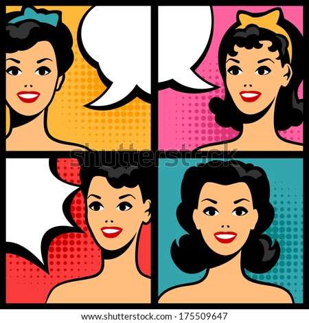 Illustration of retro girls in pop art style. - stock vector