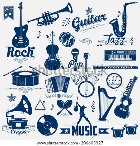 illustration of retro music label in vintage look - stock vector