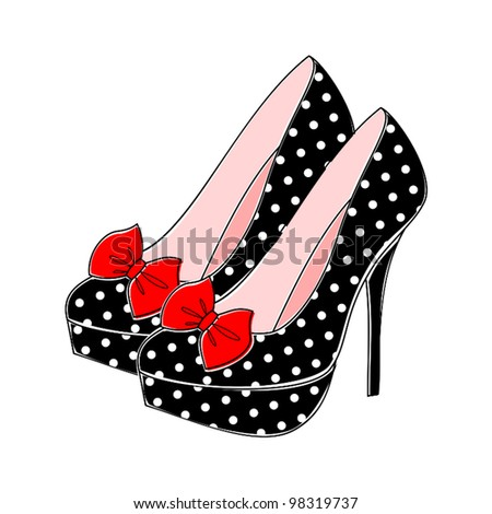 Illustration of retro style shoes with polka dots in black and white and red bow. - stock vector