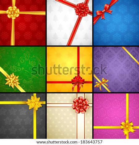 illustration of ribbon on gift paper for different occasion - stock vector
