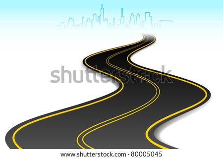illustration of road going to urban city scape - stock vector
