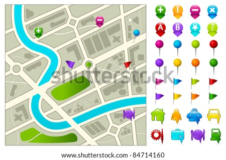 illustration of road map with gps icon set on white background - stock vector