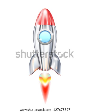 Illustration of Rocket Ship icon isolated on white - stock vector