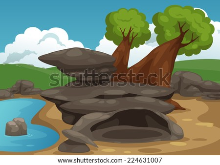 Illustration of rocks with pond scene vector - stock vector