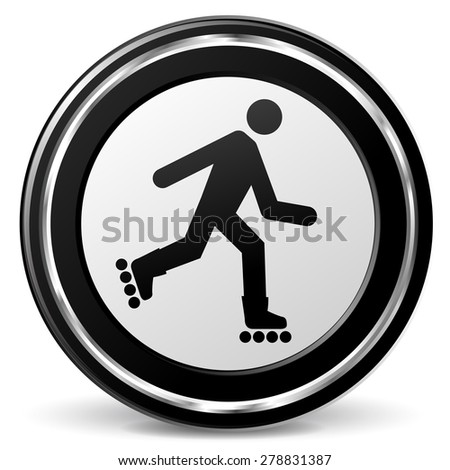 illustration of roller skate black and silver icon - stock vector
