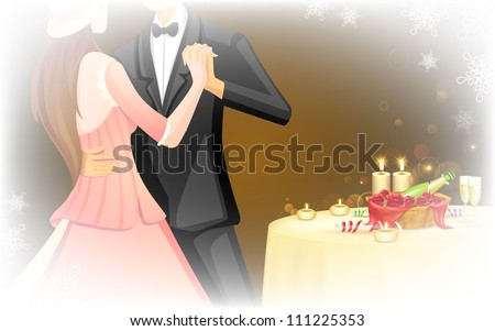 illustration of romantic couple doing ball dance in candle light date - stock vector