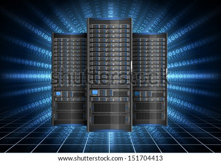 Illustration of row of servers on background with cyberspace, EPS 10. - stock vector