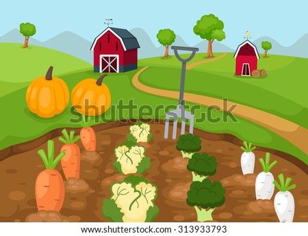 illustration of rural landscape vector - stock vector
