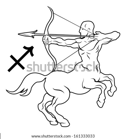 Illustration of Sagittarius the archer or centaur zodiac horoscope astrology sign - stock vector