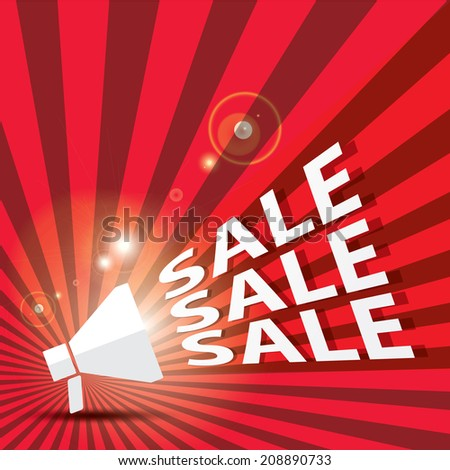 illustration of sale and promotion related word coming out from megaphone - stock vector