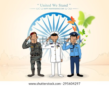 Illustration of saluting Indian force officers in front of Ashoka Wheel for Indian Independence Day celebration. - stock vector