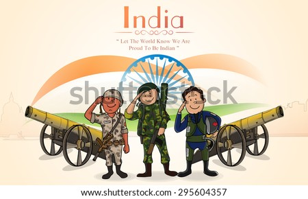 Illustration of saluting Indian force officers with cannons on National Flag background for Independence Day celebration. - stock vector