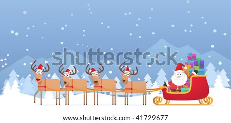 Illustration of Santa and Christmas Reindeer on the snow - stock vector
