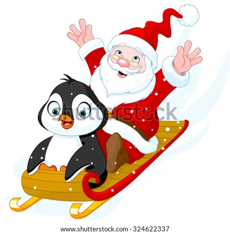 Illustration of Santa Claus and Penguin in sled - stock vector
