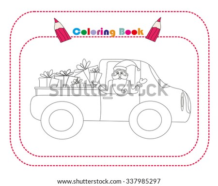 illustration of Santa Claus driving car with Christmas gifts  - stock vector