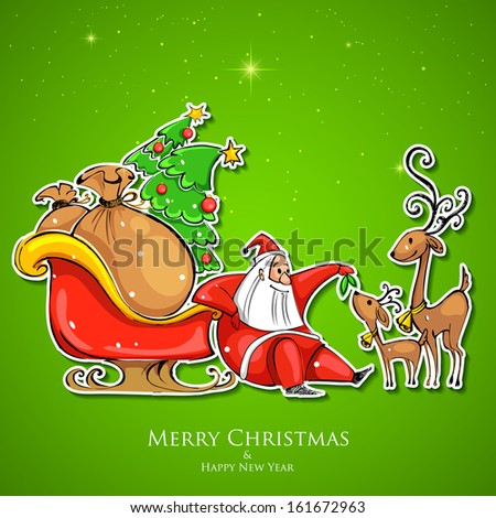 illustration of Santa Claus feeding reindeer in Christmas - stock vector