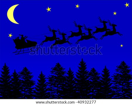 Illustration of Santa Claus flying on his sleigh, in a dark night, over the trees. - stock vector