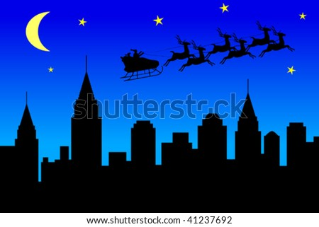 Illustration of Santa Claus flying over a city at night - stock vector