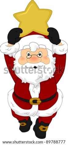 Illustration of Santa Claus Holding a Christmas Star - stock vector