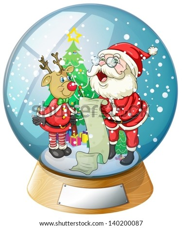 Illustration of Santa Claus holding a list inside the snow ball with a reindeer - stock vector