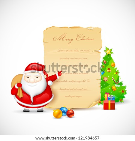 illustration of Santa Claus showing copy space for Christmas message - stock vector