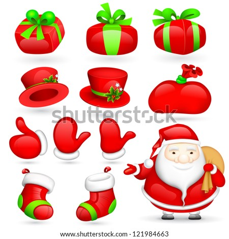 illustration of Santa Claus with Christmas element - stock vector