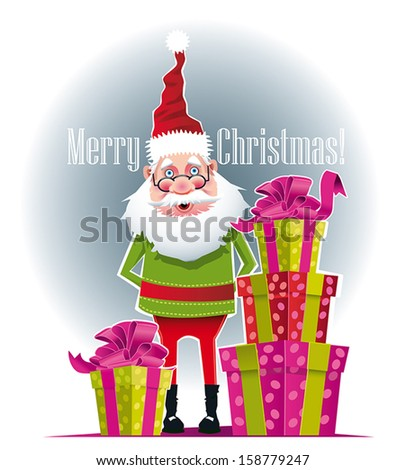 Illustration of Santa Claus with gifts beside him. - stock vector