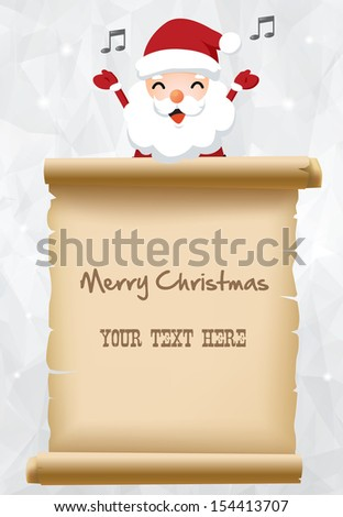 Illustration of Santa claus with parchment sign for children gift list - stock vector