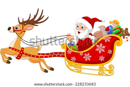 Illustration of Santa in his Christmas sled being pulled by reindeer - stock vector