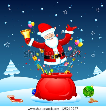 illustration of santa popping out from sack with goodies - stock vector