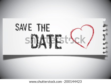 Illustration of save the date note on a ripped paper - stock vector