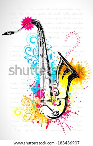 illustration of saxophone on abstract floral background - stock vector